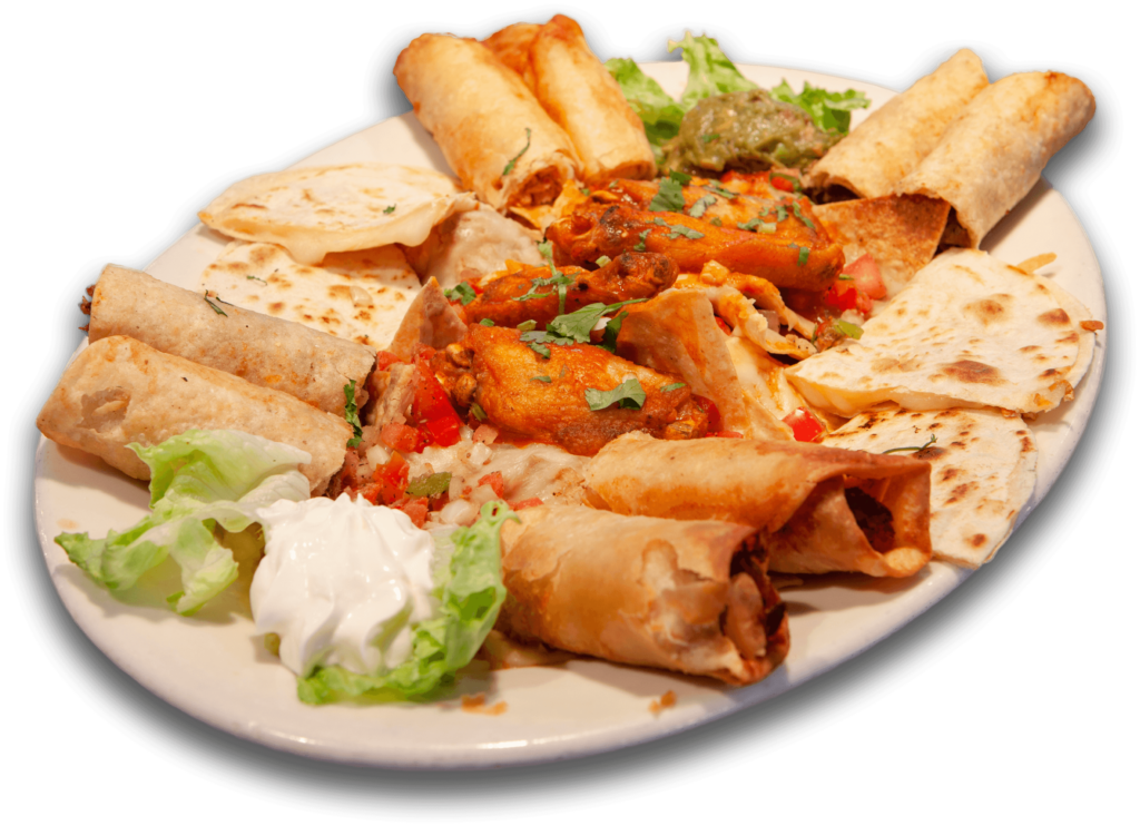 happy hour azul sampler with cheese quesadilla nacho buffalo wings taquitos and flautas