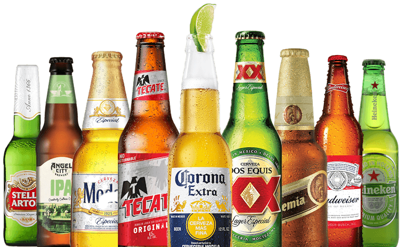a variety of beer bottles