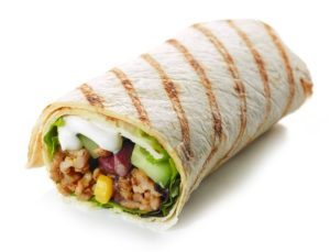 burrito with ranch corn avocado and meat
