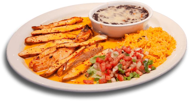 grilled chicken mango sauce with rice and bean dip