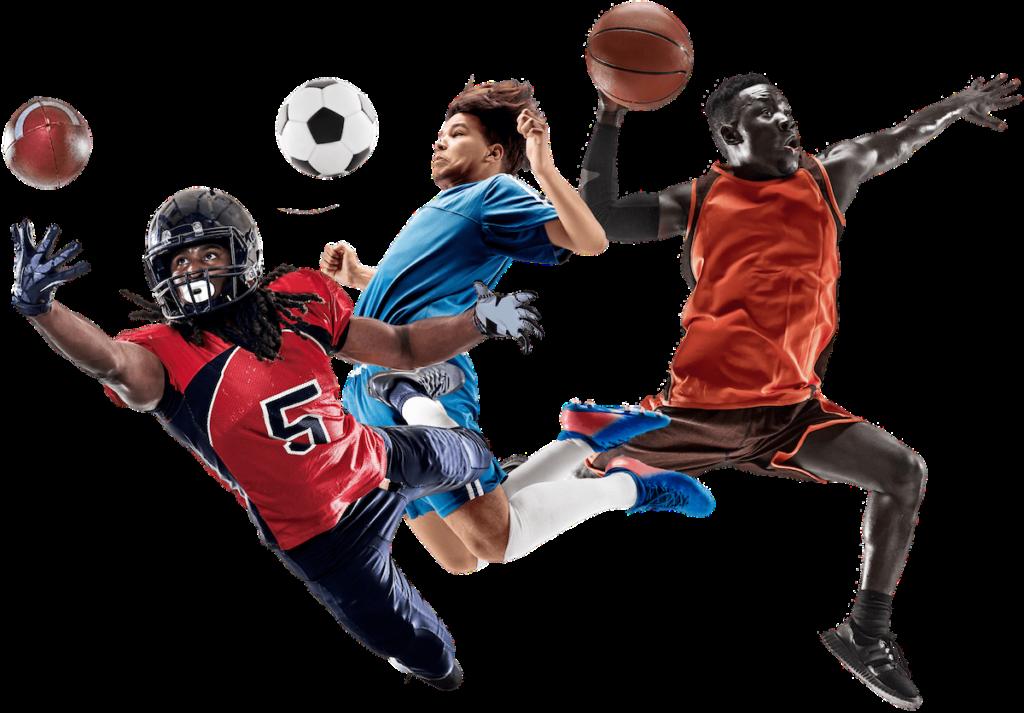football player catching football soccer player chest bumping soccer ball basketball player slam dunking basketball